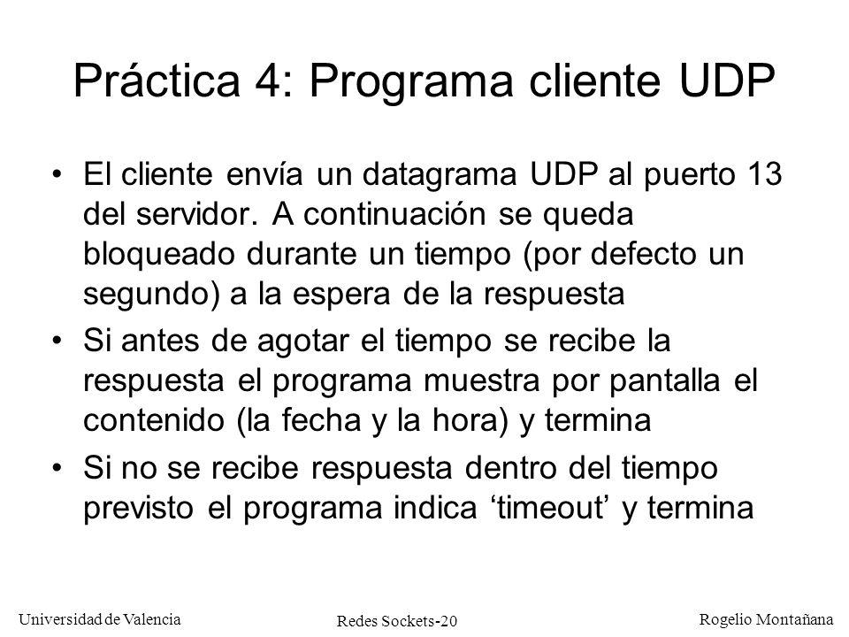 Práctica 4: Programa cliente UDP
