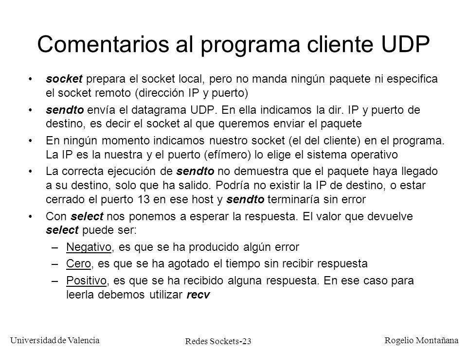 Comentarios al programa cliente UDP