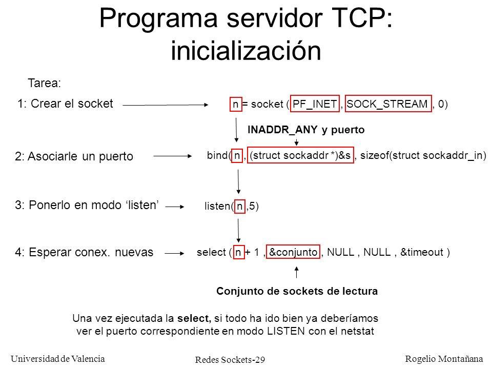 Programa servidor TCP: inicialización