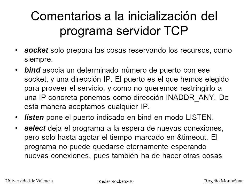 Comentarios a la inicialización del programa servidor TCP
