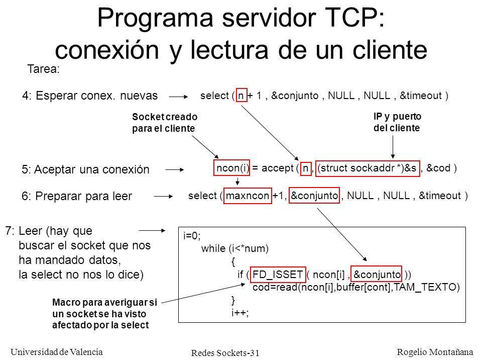 Programa servidor TCP: conexión y lectura de un cliente