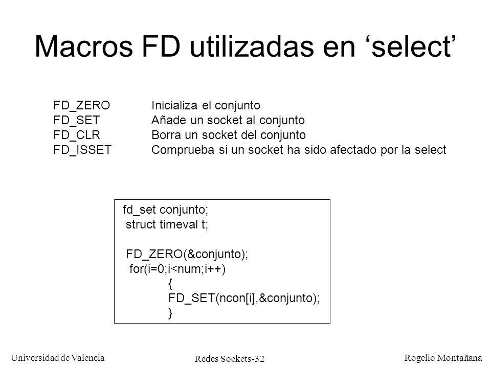 Macros FD utilizadas en 'select'
