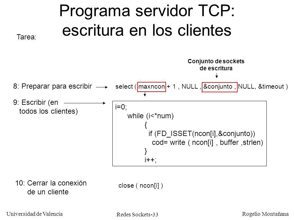 Programa servidor TCP: escritura en los clientes