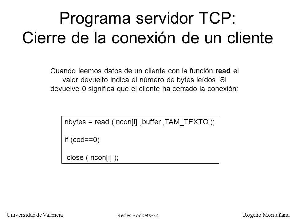 Programa servidor TCP: Cierre de la conexión de un cliente