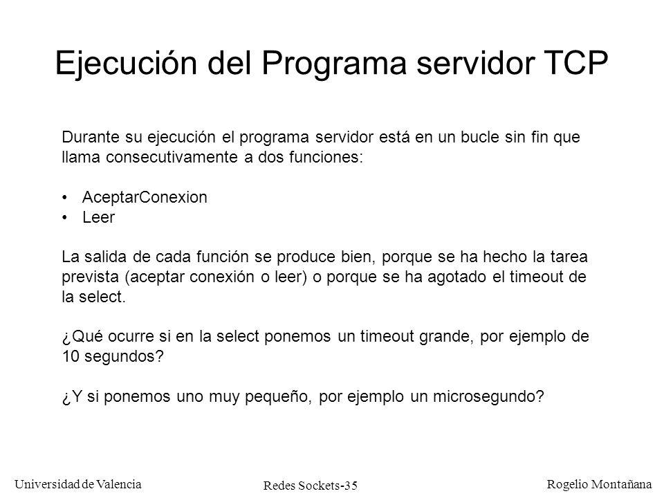 Ejecución del Programa servidor TCP