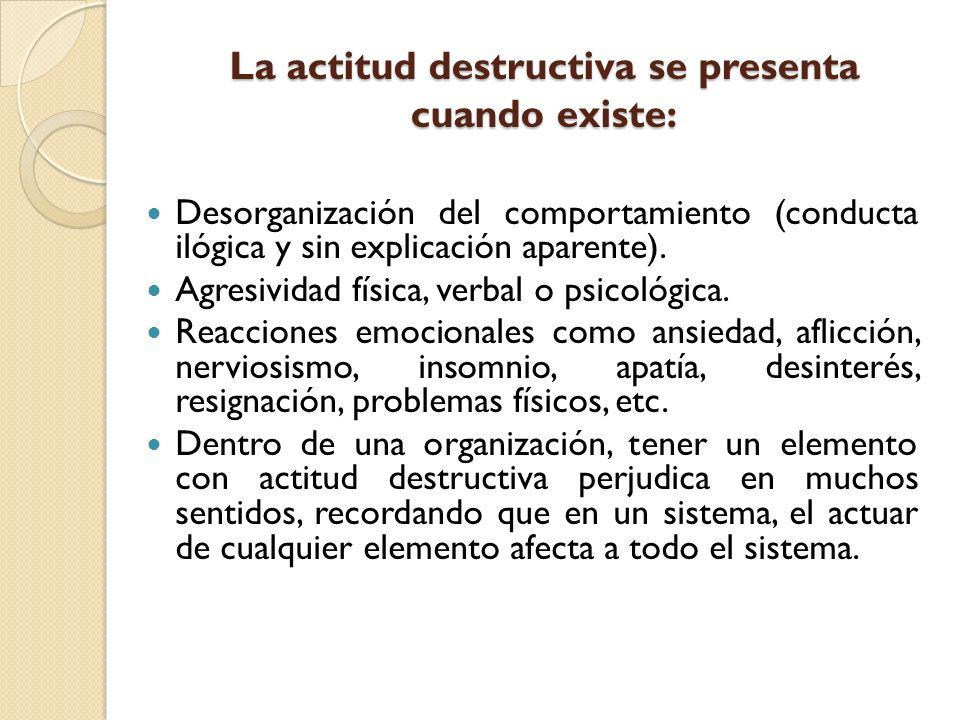 La actitud destructiva se presenta cuando existe: