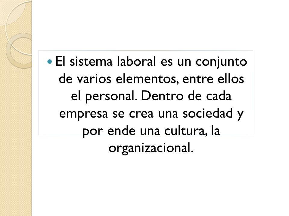 El sistema laboral es un conjunto de varios elementos, entre ellos el personal.