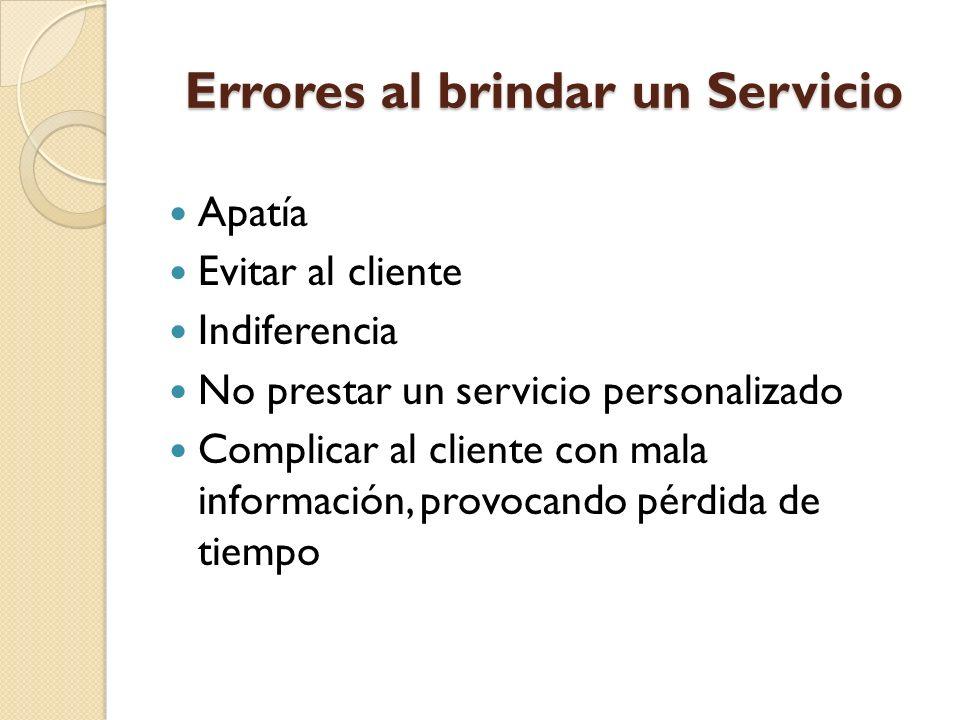 Errores al brindar un Servicio