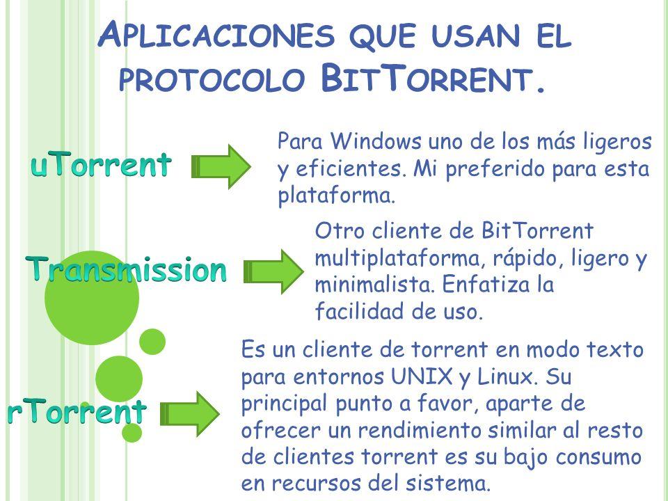 Aplicaciones que usan el protocolo BitTorrent.