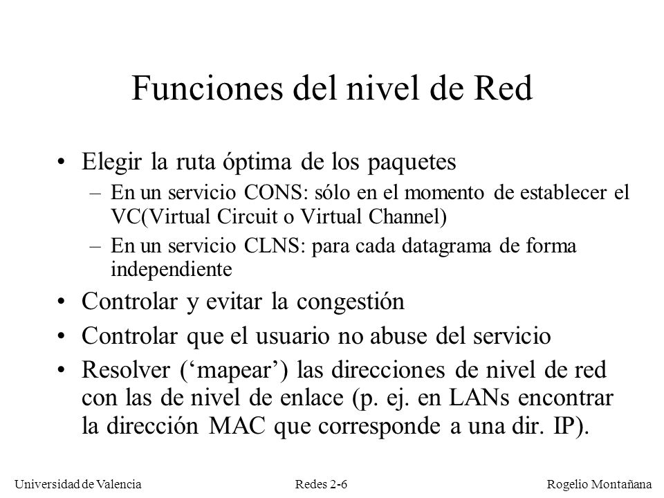 Funciones del nivel de Red