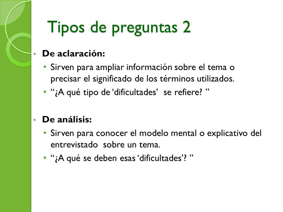 Tipos de preguntas 2 De aclaración: