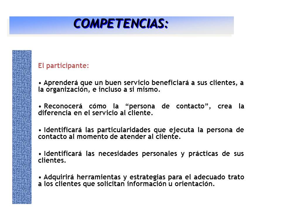 COMPETENCIAS: El participante: