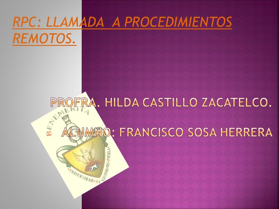Profra. Hilda castillo zacatelco. Alumno: Francisco Sosa herrera