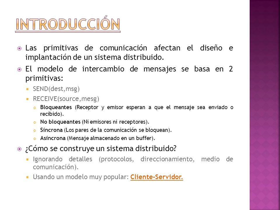 Introducción Las primitivas de comunicación afectan el diseño e implantación de un sistema distribuido.