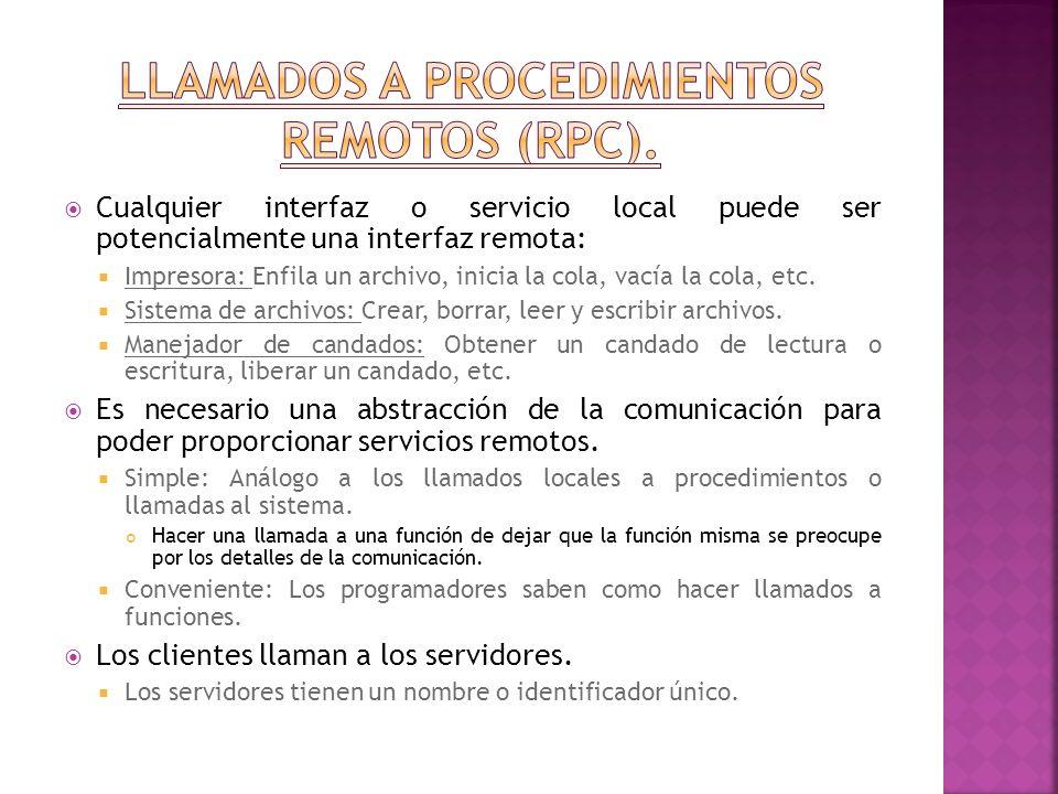 Llamados a procedimientos remotos (RPC).