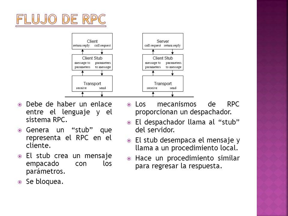 Flujo de rpc Debe de haber un enlace entre el lenguaje y el sistema RPC. Genera un stub que representa el RPC en el cliente.