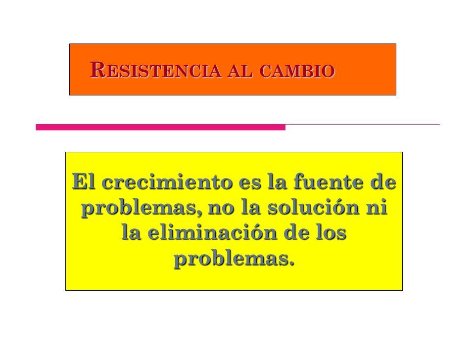 Resistencia al cambio El crecimiento es la fuente de problemas, no la solución ni la eliminación de los problemas.