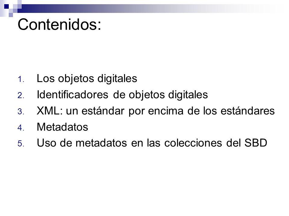 Contenidos: Los objetos digitales Identificadores de objetos digitales