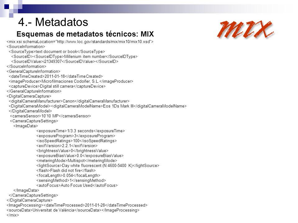 4.- Metadatos Esquemas de metadatos técnicos: MIX