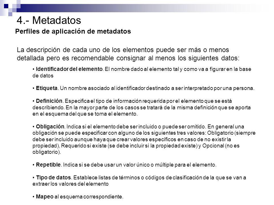4.- Metadatos Perfiles de aplicación de metadatos