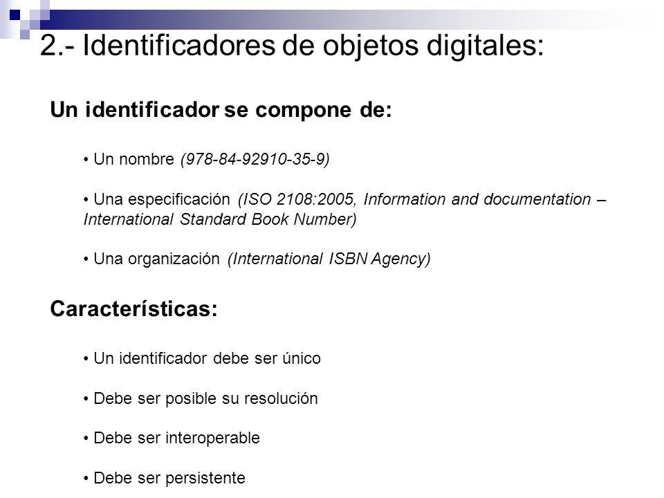 2.- Identificadores de objetos digitales: