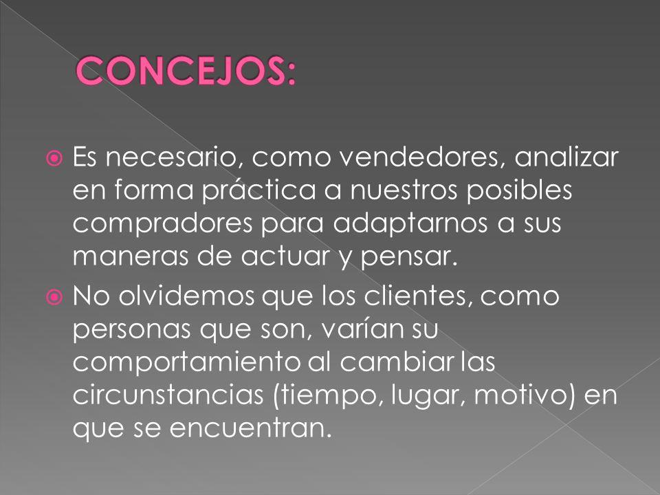 CONCEJOS: Es necesario, como vendedores, analizar en forma práctica a nuestros posibles compradores para adaptarnos a sus maneras de actuar y pensar.