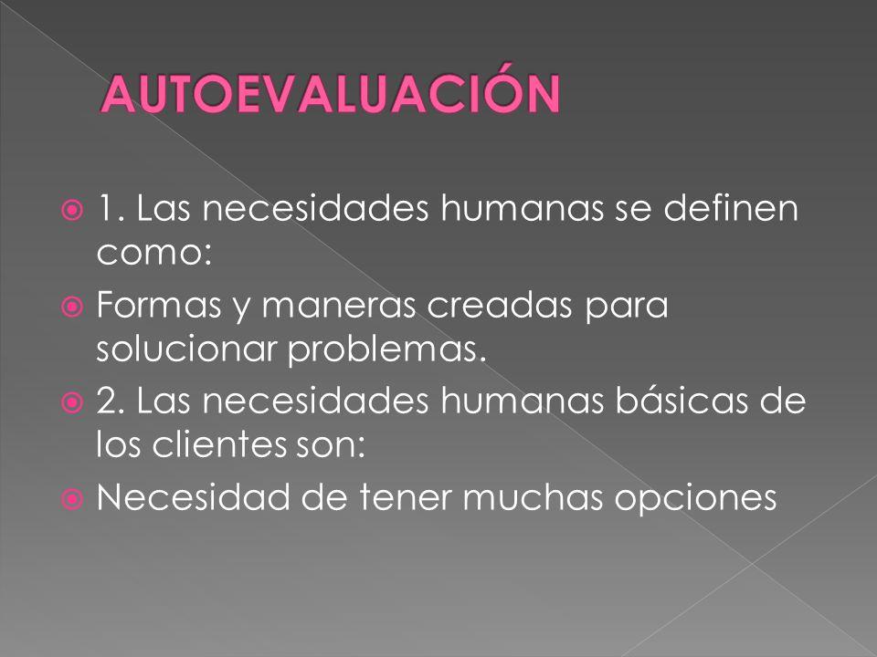 AUTOEVALUACIÓN 1. Las necesidades humanas se definen como: