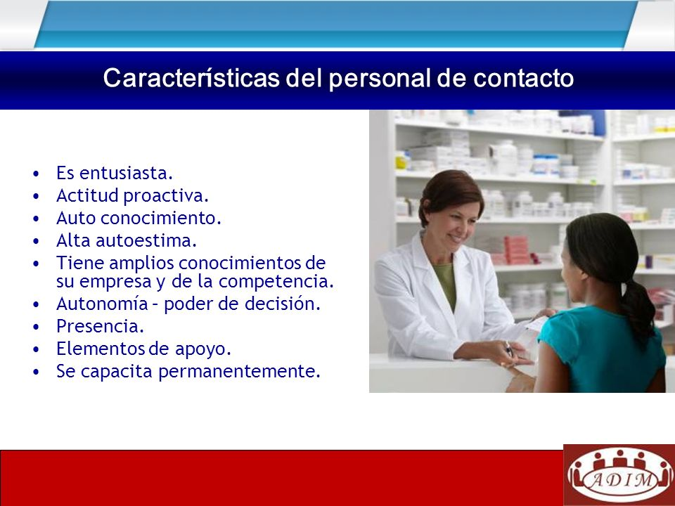 Características del personal de contacto
