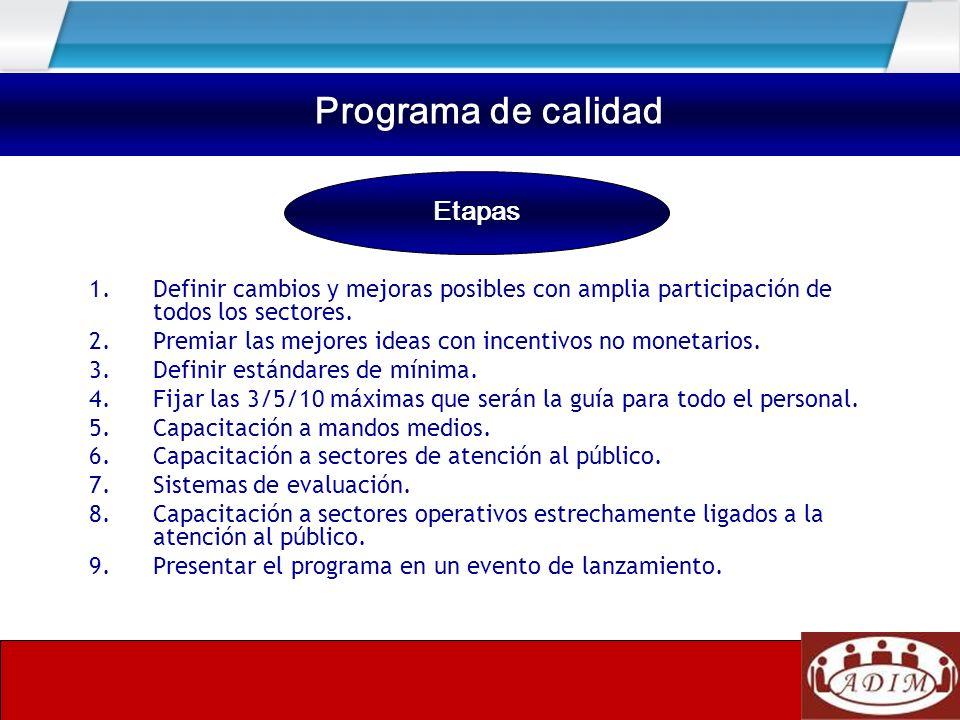 Programa de calidad Etapas