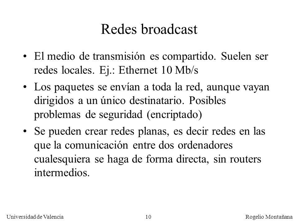 Fundamentos Redes broadcast. El medio de transmisión es compartido. Suelen ser redes locales. Ej.: Ethernet 10 Mb/s.