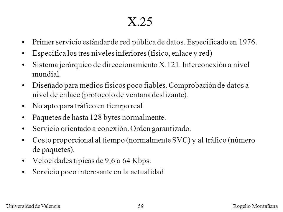 Fundamentos X.25. Primer servicio estándar de red pública de datos. Especificado en 1976.