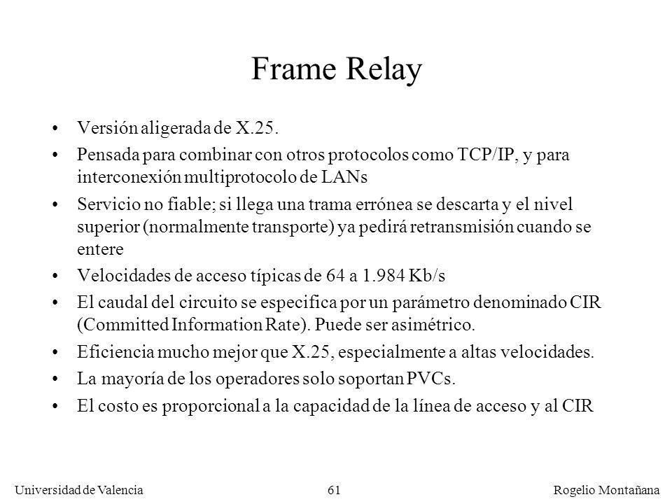 Frame Relay Versión aligerada de X.25.