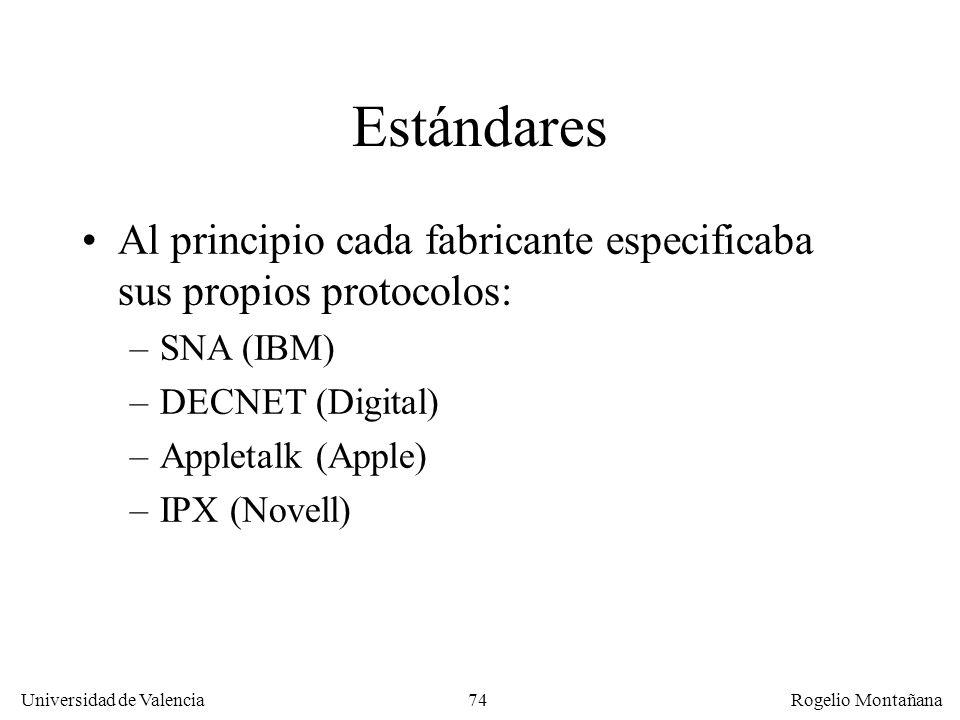 Fundamentos Estándares. Al principio cada fabricante especificaba sus propios protocolos: SNA (IBM)