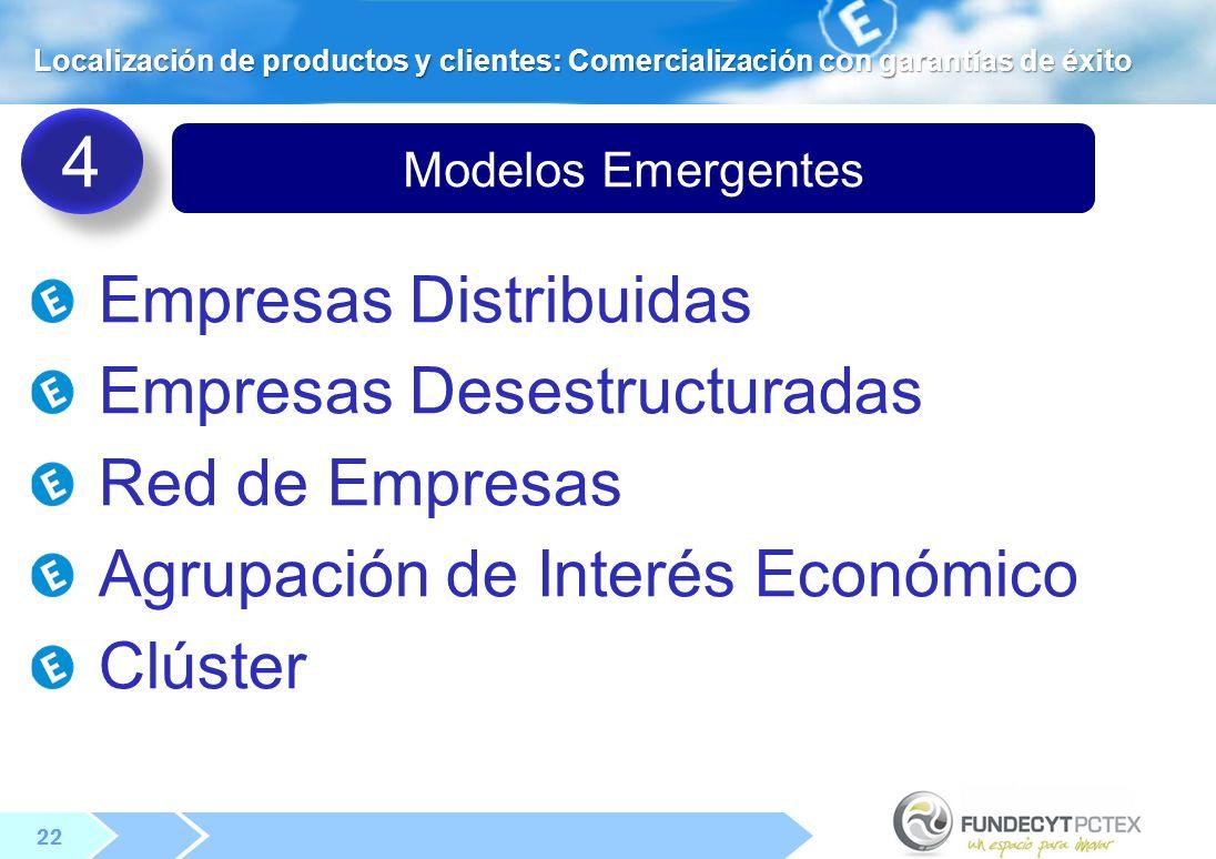 4 Empresas Distribuidas Empresas Desestructuradas Red de Empresas