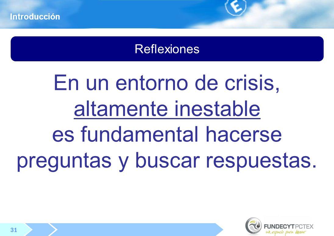 En un entorno de crisis, altamente inestable