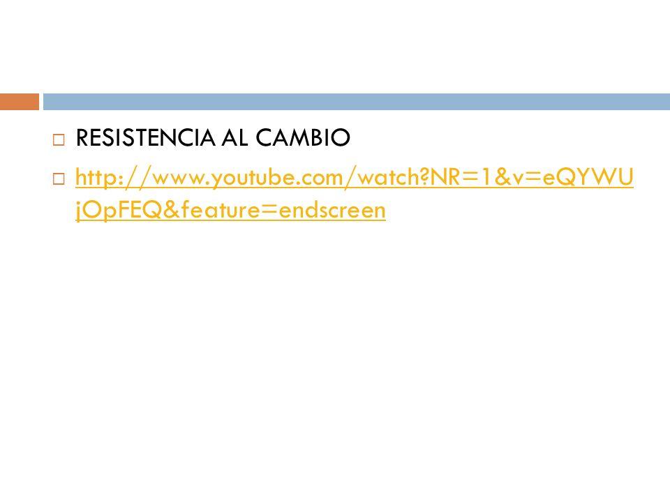 RESISTENCIA AL CAMBIO http://www.youtube.com/watch NR=1&v=eQYWU jOpFEQ&feature=endscreen