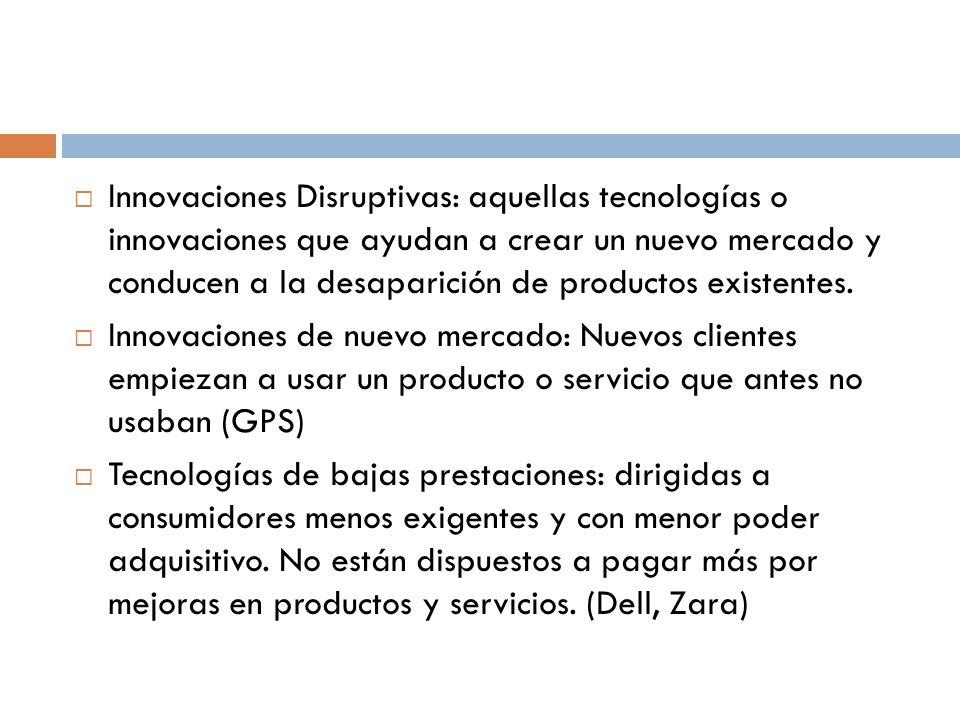 Innovaciones Disruptivas: aquellas tecnologías o innovaciones que ayudan a crear un nuevo mercado y conducen a la desaparición de productos existentes.