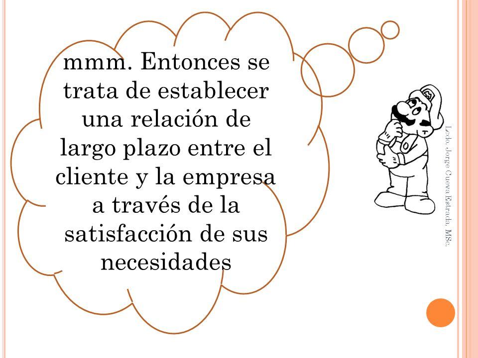 mmm. Entonces se trata de establecer una relación de largo plazo entre el cliente y la empresa a través de la satisfacción de sus necesidades