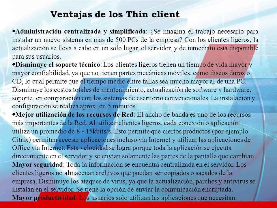 Ventajas de los Thin client