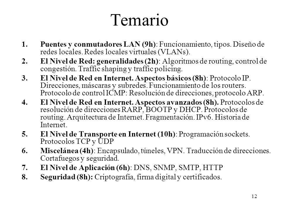 Temario Puentes y conmutadores LAN (9h): Funcionamiento, tipos. Diseño de redes locales. Redes locales virtuales (VLANs).