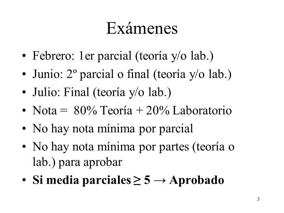 Exámenes Febrero: 1er parcial (teoría y/o lab.)