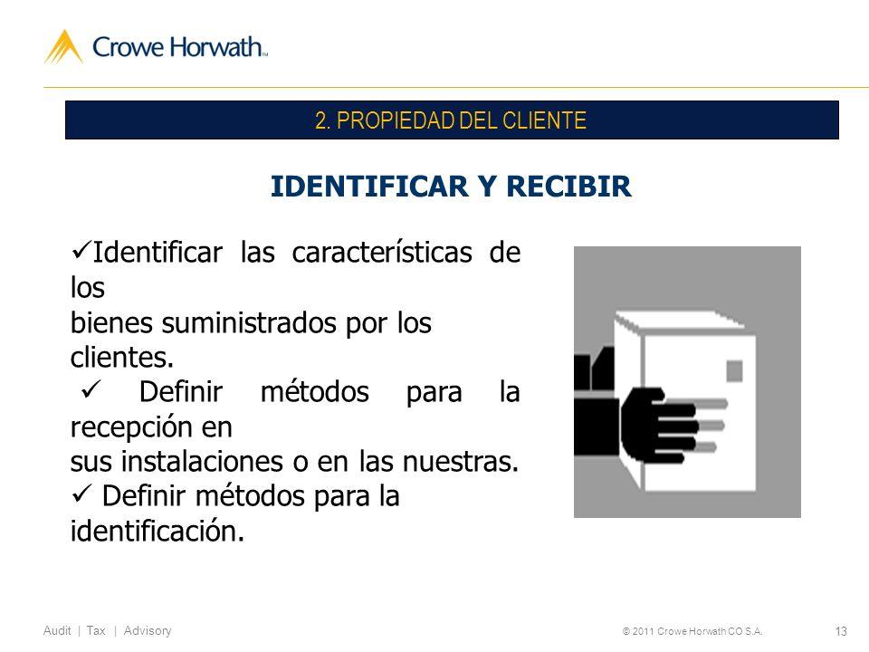 Identificar las características de los bienes suministrados por los
