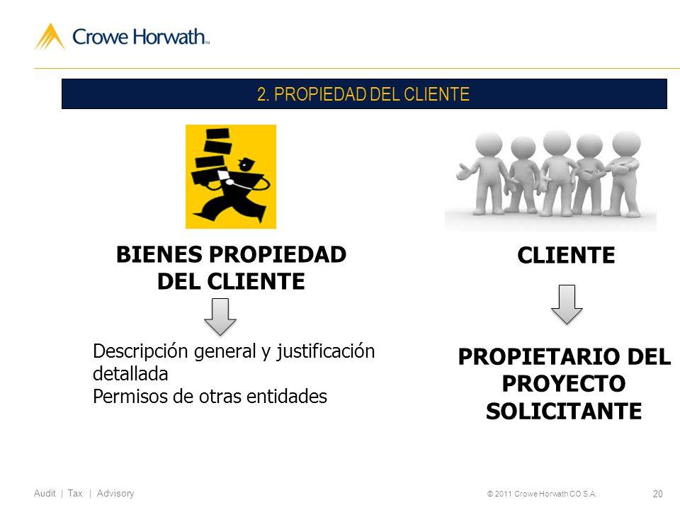BIENES PROPIEDAD CLIENTE DEL CLIENTE PROPIETARIO DEL PROYECTO