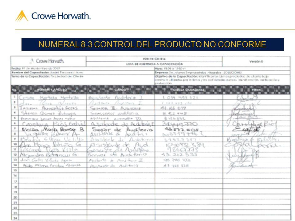 NUMERAL 8.3 CONTROL DEL PRODUCTO NO CONFORME