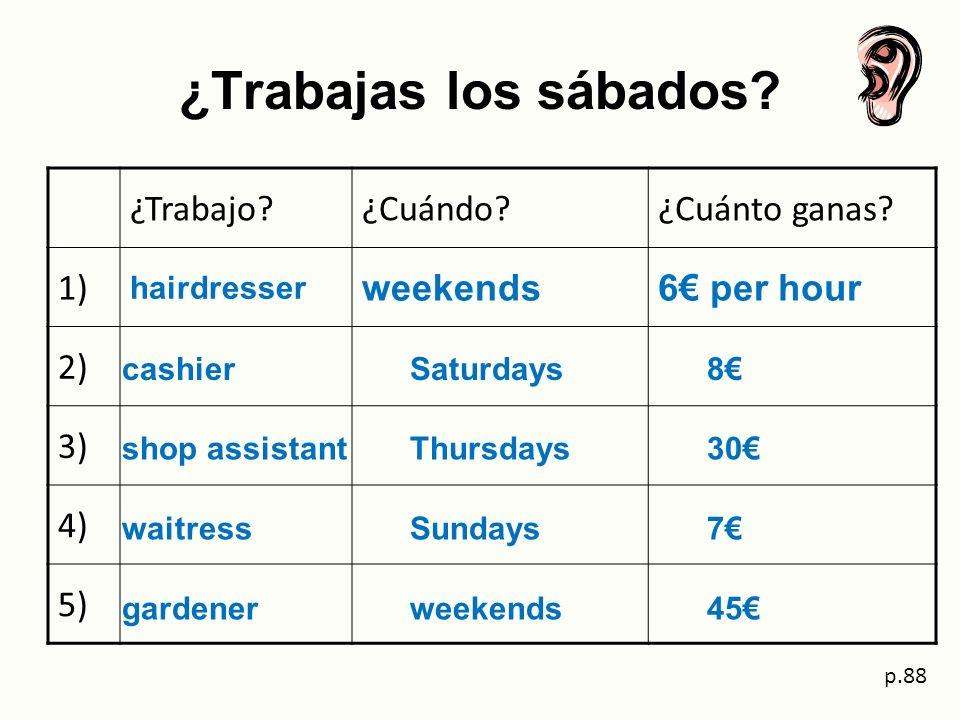 ¿Trabajas los sábados ¿Trabajo ¿Cuándo ¿Cuánto ganas 1) weekends