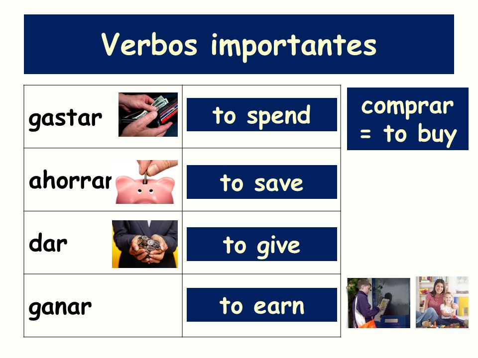 Verbos importantes gastar ahorrar comprar = to buy dar to spend ganar
