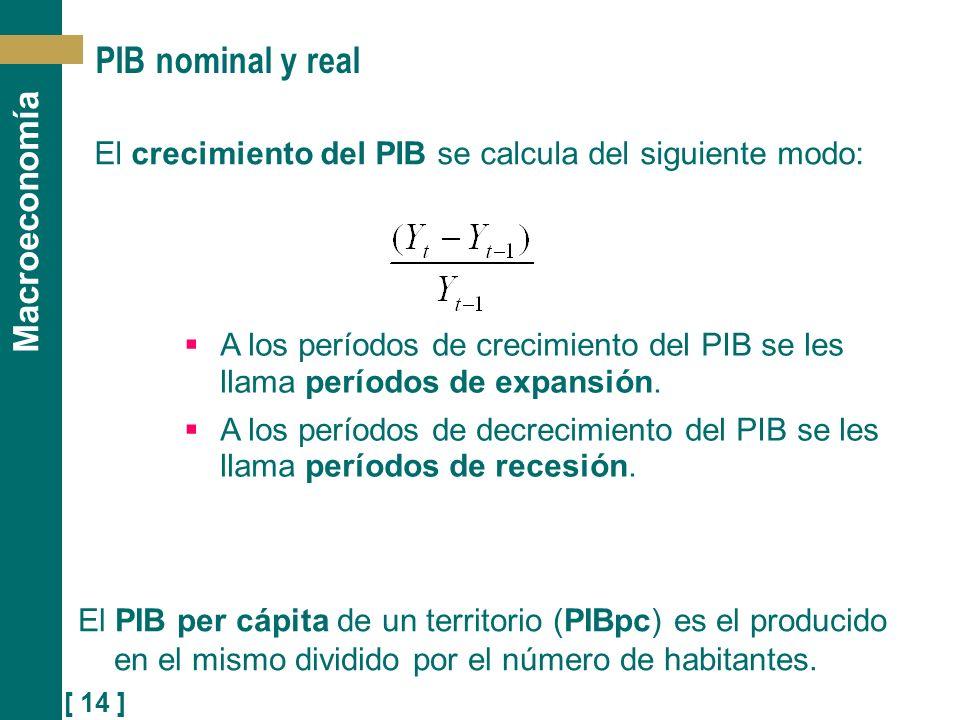 PIB nominal y real El crecimiento del PIB se calcula del siguiente modo: A los períodos de crecimiento del PIB se les llama períodos de expansión.