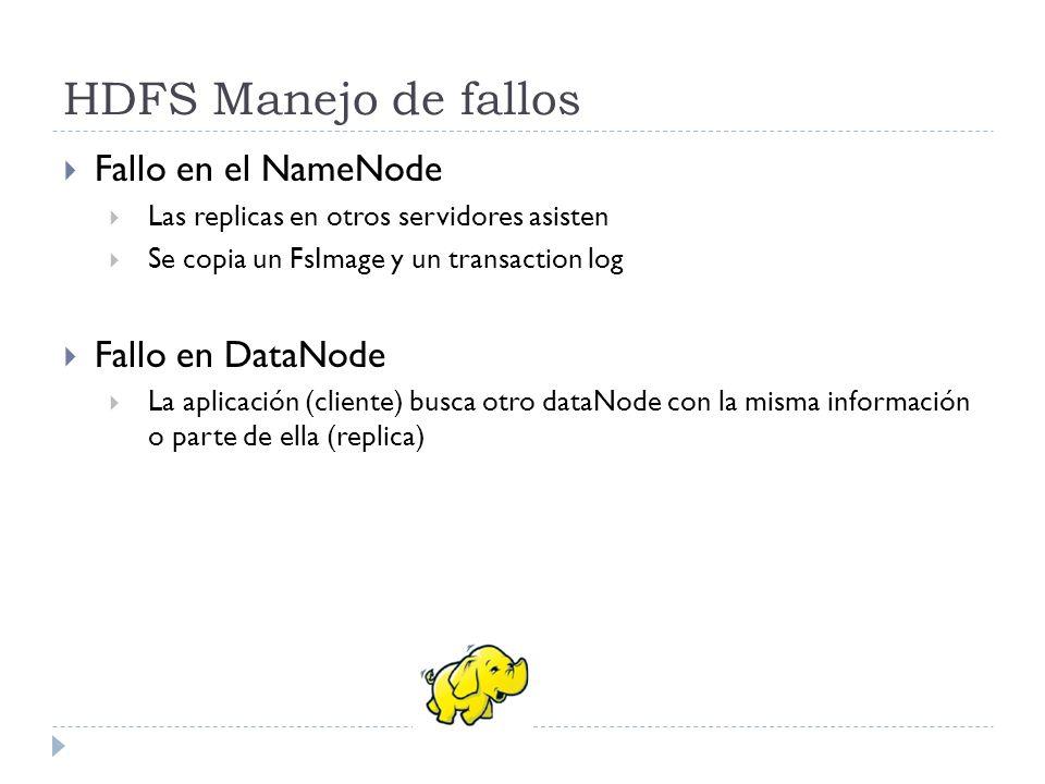 HDFS Manejo de fallos Fallo en el NameNode Fallo en DataNode