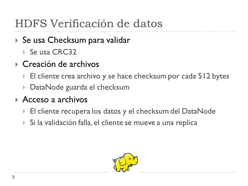 HDFS Verificación de datos