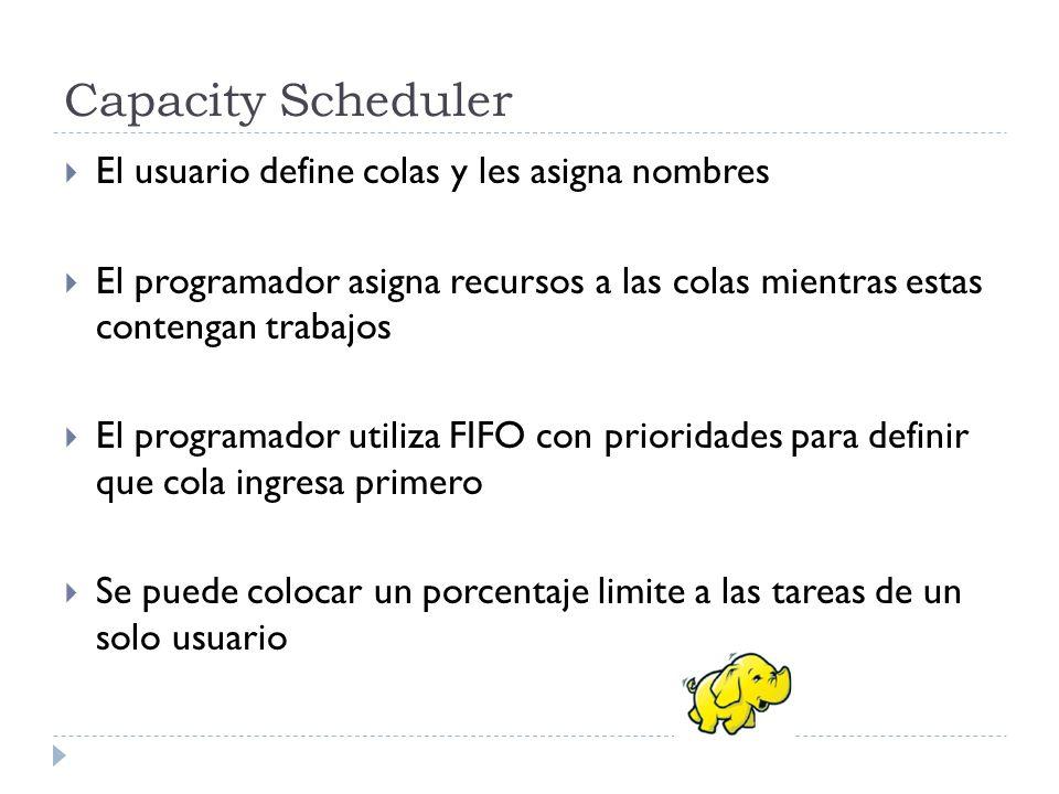 Capacity Scheduler El usuario define colas y les asigna nombres